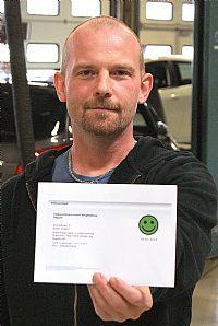 Grøn smiley på Skjern Tekniske Skole